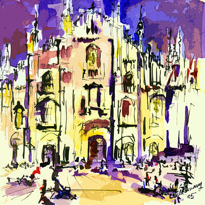 Impressionist Mixed Media - Milan Italy Cathedral Abstract Art By Ginette by Ginette Callaway