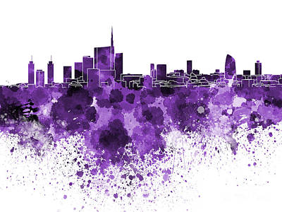 Grunge Painting - Milan Skyline In Purple Watercolor On White Background by Pablo Romero