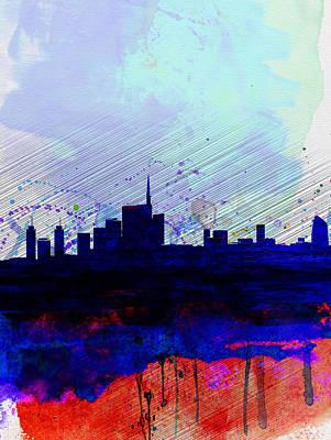 Panoramic Digital Art - Milan Watercolor Skyline by Naxart Studio