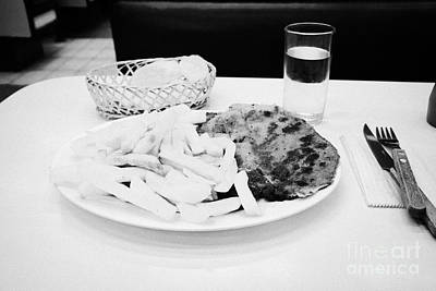 Fry Bread Photograph - milanesa steak with french fries in a cafe Santiago Chile by Joe Fox