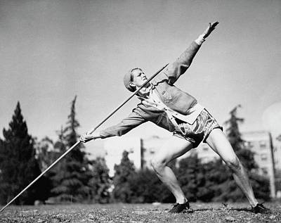 Mildred Babe Didrikson Holding A Javelin Art Print