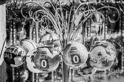 Mile Marker 0 Christmas Decorations Key West 2 - Black And White Art Print by Ian Monk