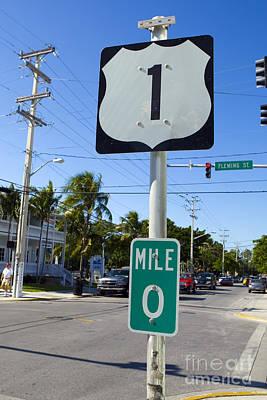 Jason O. Watson Photograph - Mile Zero Key West Us Hwy 1 by Jason O Watson