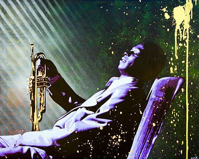 Stencil Art Painting - Miles Davis by Bobby Zeik