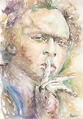 Miles Davis Oil Painting - Miles Davis by Marina Sotiriou
