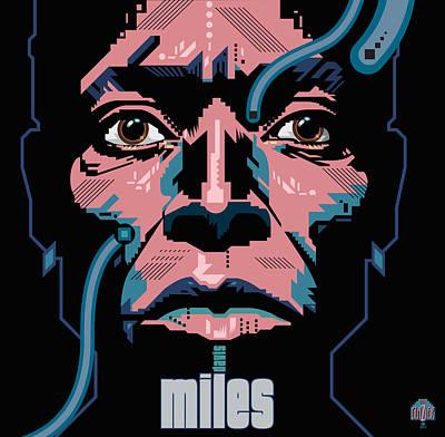 Jazz Royalty Free Images - Miles Davis Portrait Royalty-Free Image by Garth Glazier