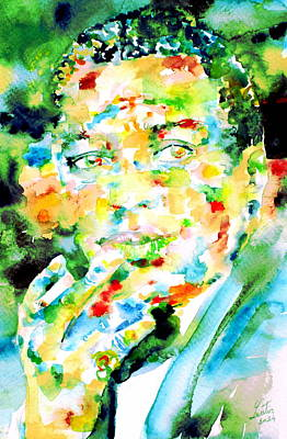 Painting - Miles Davis Smoking - Watercolor Portrait by Fabrizio Cassetta