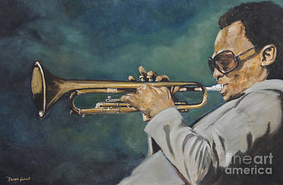 Art Print featuring the painting Miles Davis - Solo by Dwayne Glapion