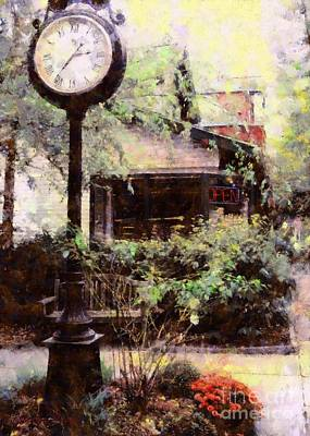 Milford Jewelry Square Clock Art Print by Janine Riley