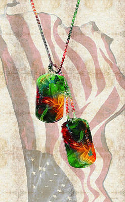 Liberty Painting - Military Art Dog Tags - Honor 2 - By Sharon Cummings by Sharon Cummings