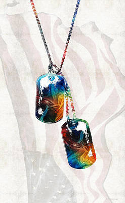 Liberty Painting - Military Art Dog Tags - Honor - By Sharon Cummings by Sharon Cummings
