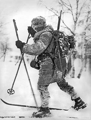 Photograph - Military Cross Country Skiing by Underwood Archives