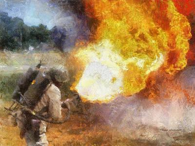 Tom Boy Digital Art - Military Flame Thrower Photo Art 01 by Thomas Woolworth