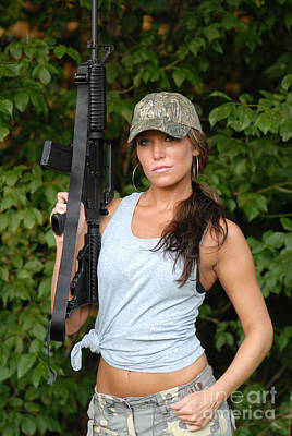 Long Rifle Photograph - Military Girl by Jt PhotoDesign