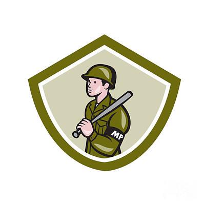 Military Police With Night Stick Baton Shield Art Print by Aloysius Patrimonio