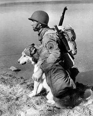 Military Soldier And Dog Vintage  Art Print by Retro Images Archive