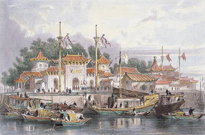 Junk Boat Drawing - Military Station Of The Chinese by Thomas Allom