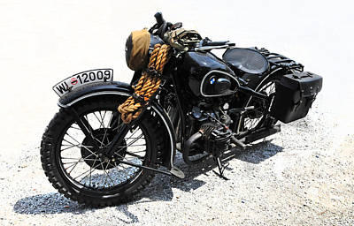 Saddlebag Photograph - Military Style Bmw Motorcycle by Dave Mills