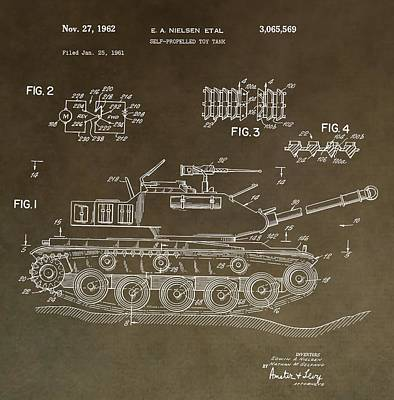 Toy Store Digital Art - Military Tank Patent by Dan Sproul