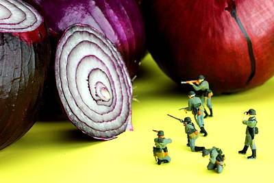 Photograph - Military Training With Red Onion Little People On Food by Paul Ge
