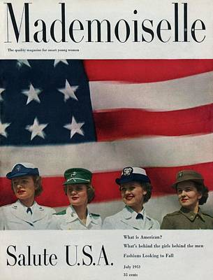 Photograph - Military Women In Front Of A Us Flag by Herman Landshoff
