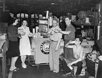 Factory Photograph - Milk Break For War Workers by Underwood Archives