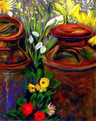 Milk Cans At Flower Show Sold Art Print by Antonia Citrino