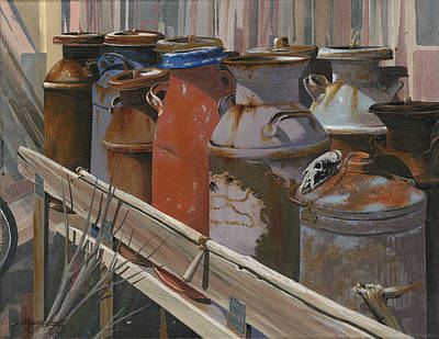 Milk Can Painting - Milk Cans by John Wyckoff