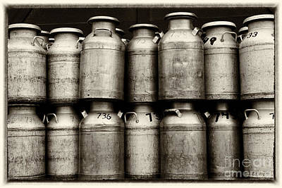 Dairy Farming Photograph - Milk Containers Sepia by Iris Richardson