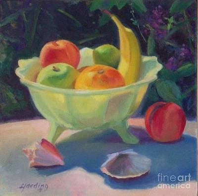 Outdoor Still Life Painting - Milk Glass And Loosestrife by JT Harding
