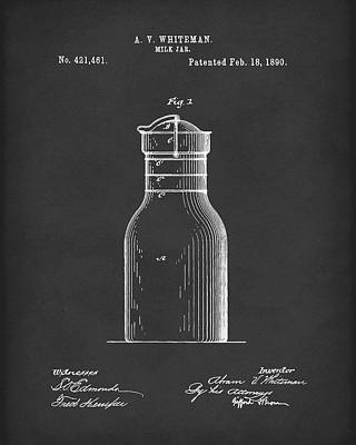 Drawing - Milk Jar 1890 Patent Art Black by Prior Art Design