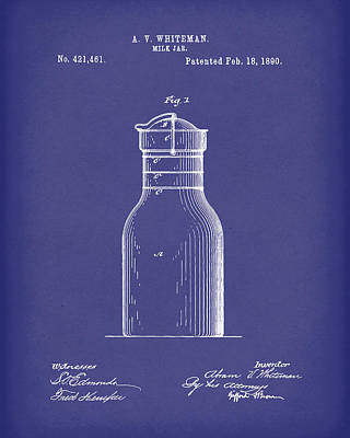 Drawing - Milk Jar 1890 Patent Art Blue by Prior Art Design