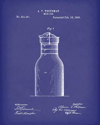 Drawing - Milk Jar 1890 Patent Art Blue by Prior Art Design