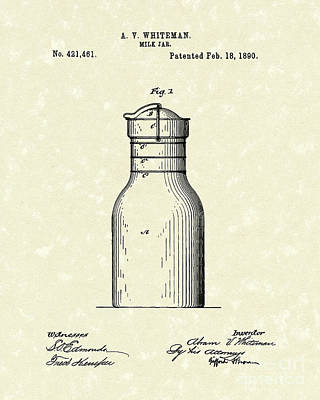 Milk Jar 1890 Patent Art Art Print by Prior Art Design