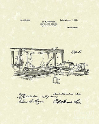 Drawing - Milking Machine 1900 Patent Art by Prior Art Design