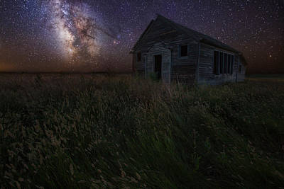 Abandoned School House Photograph - Milky Way And Decay by Aaron J Groen