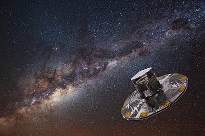 Gaia Photograph - Milky Way And Gaia Satellite by European Space Agency,d. Ducros