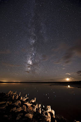 Photograph - Milky Way And Moon Reflecting by Melany Sarafis