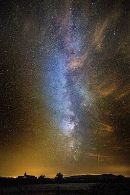 Milky Way And Perseid Meteor Trail Art Print by Chris Madeley