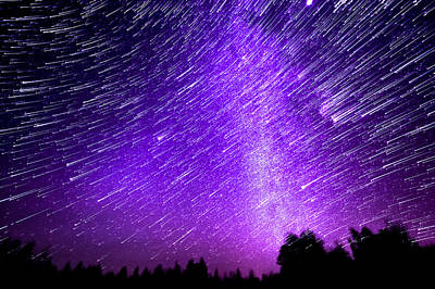 Milky Way And Star Trails Art Print by Aaron Priest