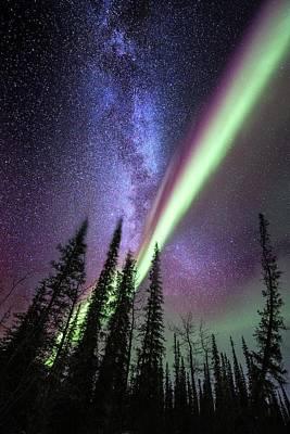 Alaska Photograph - Milky Way And The Aurora Borealis by Chris Madeley