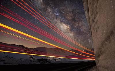 Milky Way Light Trails On Loveland Pass Art Print by Mike Berenson