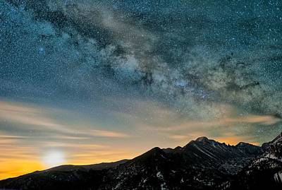 Milky Way Moon Over Glacier Gorge Print by Mike Berenson