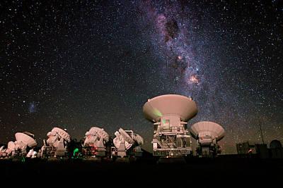 Milky Way Over Alma Telescopes Art Print