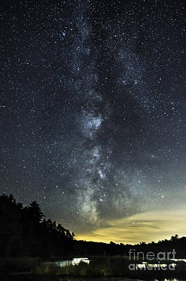 Milky Way Over Beaver Pond In Phippsburg Maine 2 Art Print by Patrick Fennell