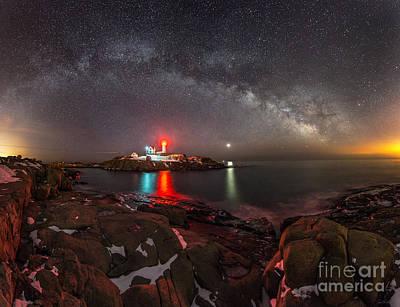 Milky Way Over Neddick Cape Light Art Print by Jim Block