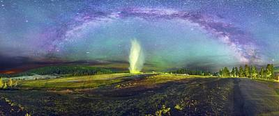 Andromeda Photograph - Milky Way Over Old Faithful Geyser by Walter Pacholka, Astropics