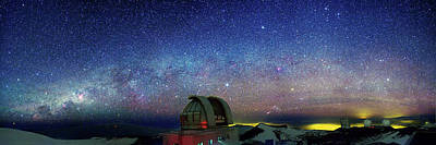 Milky Way Over Telescopes On Hawaii Art Print