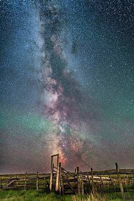 Milky Way Over The 76 Ranch Corral Art Print by Alan Dyer