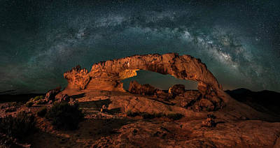 Arch Photograph - Milky Way Over The Sunset Arch by Hua Zhu